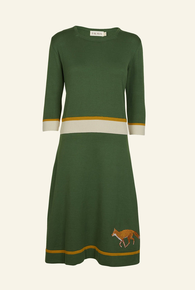 Otti Knitted Dress - Green Embroidered Fox