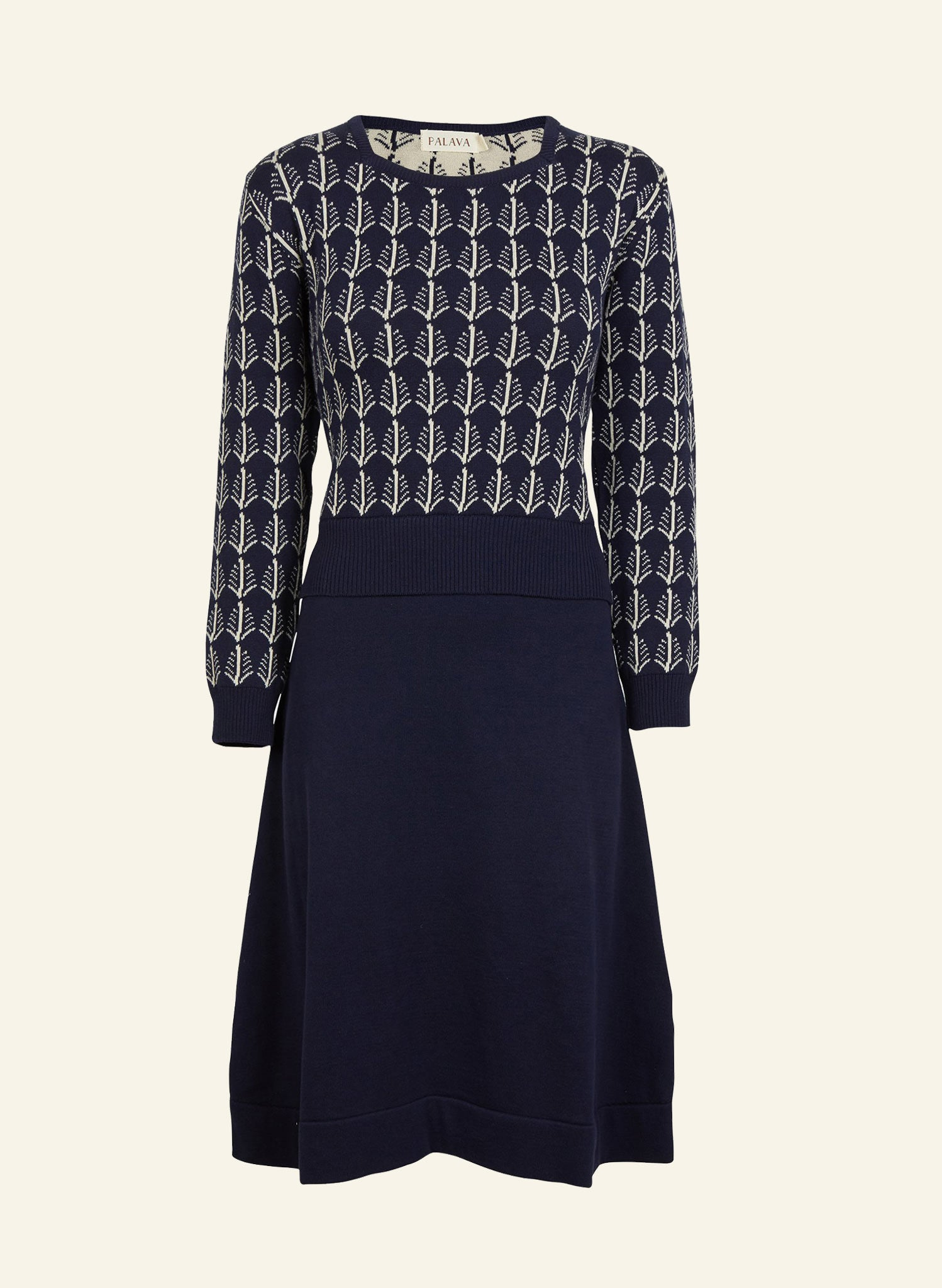 Otti Knitted Dress - Navy/Cream Feathers
