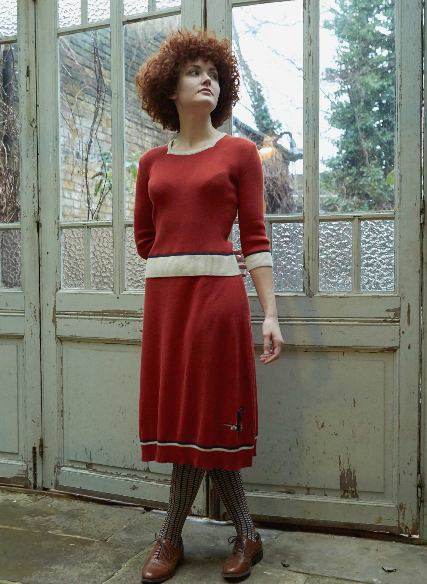 Otti - Rust Eagle Knitted Dress