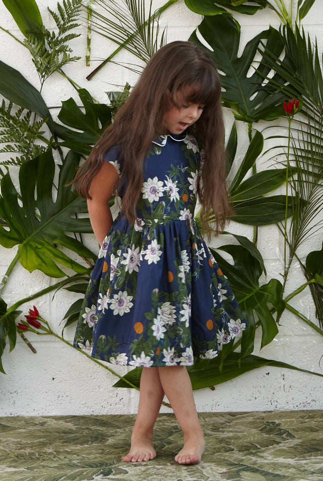 Penny - Navy Passion Flower Print Floral Organic Cotton Bridesmaid Dress