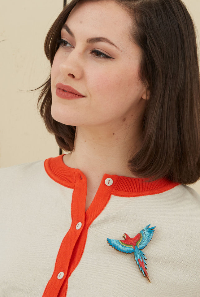 Parrot Laser-cut Acrylic Hand-painted British-made Retro Brooch