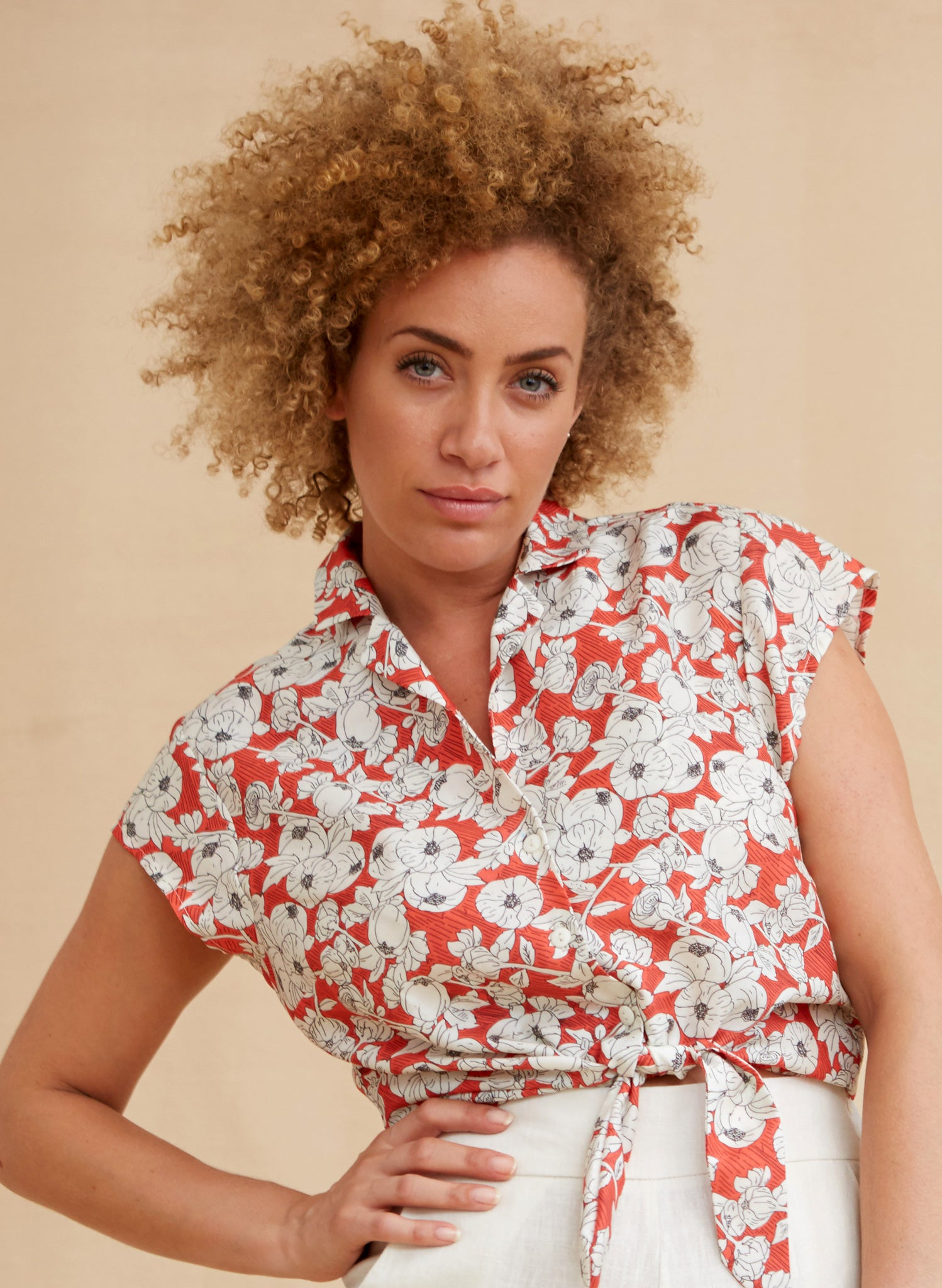 Peggy - Tencel Red Pomegranate Top