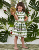Penny - Tropical Walking Zoo Print Organic Cotton Dress for Girls