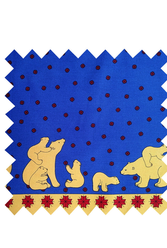 Blue Polar Bear Fabric - Cotton Twill