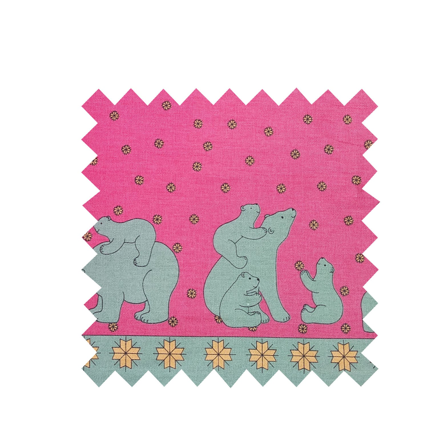 Pink/Green Polar Bear Fabric - Cotton twill