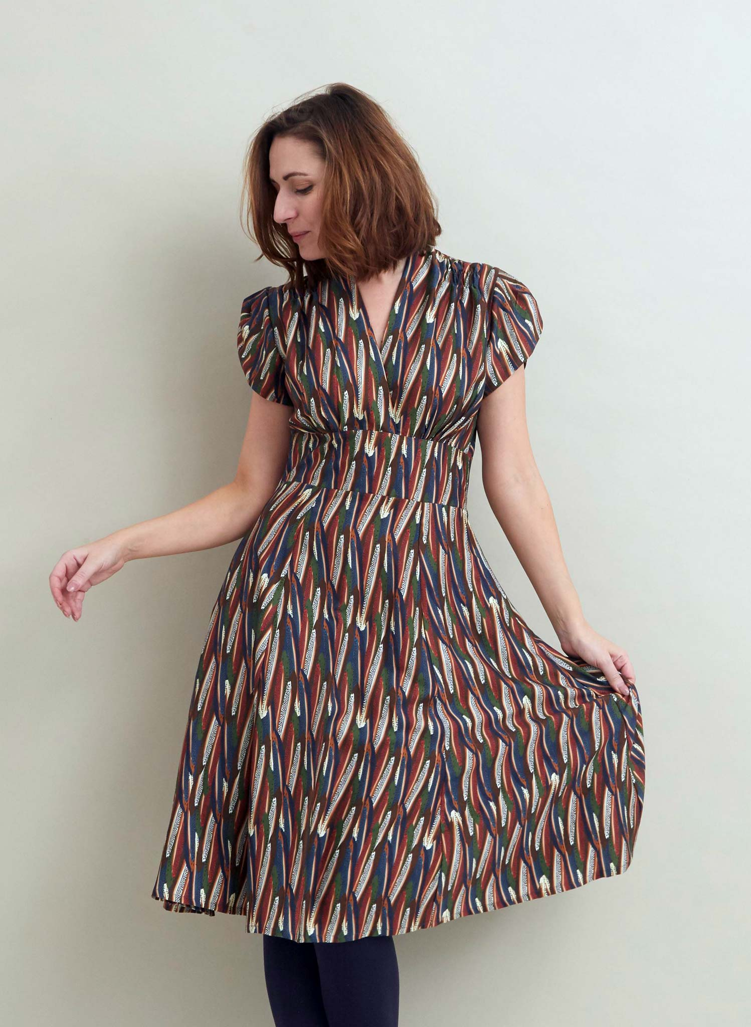 Rita - Multi Feathers Dress - Tencel