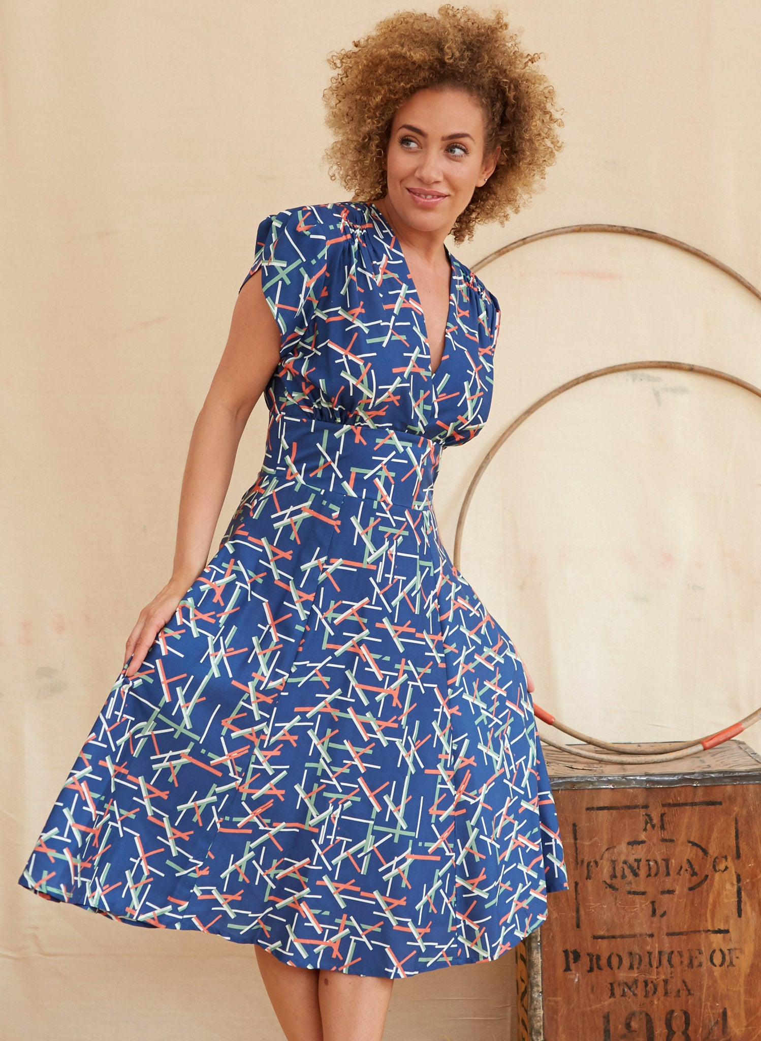 Rita - Tencel Blue Circus Sticks Dress
