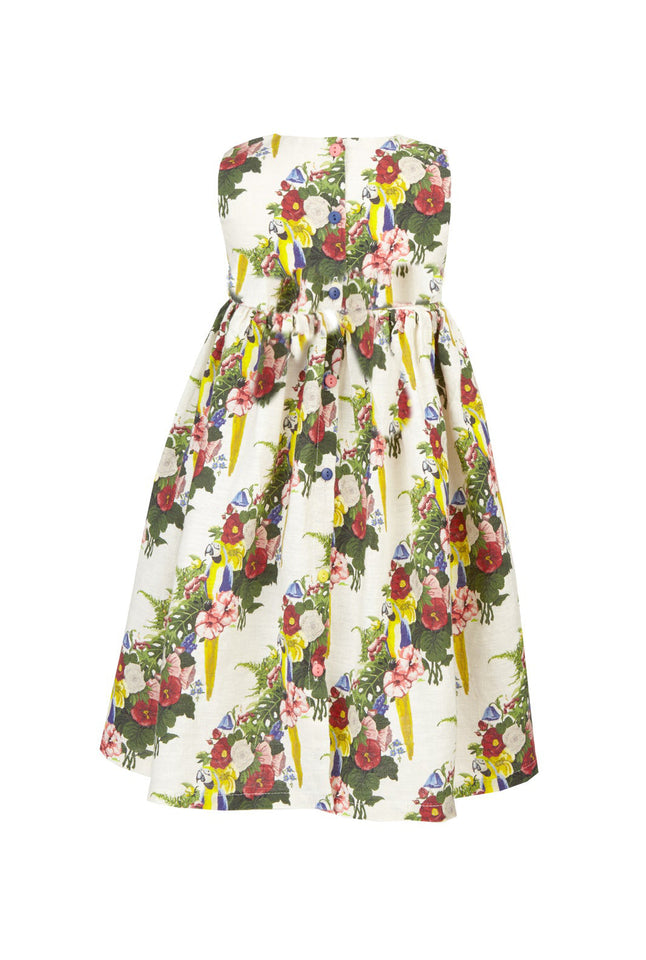 Rosie - Parrots Print Tropical Linen Bridesmaid Party Dress for Girls