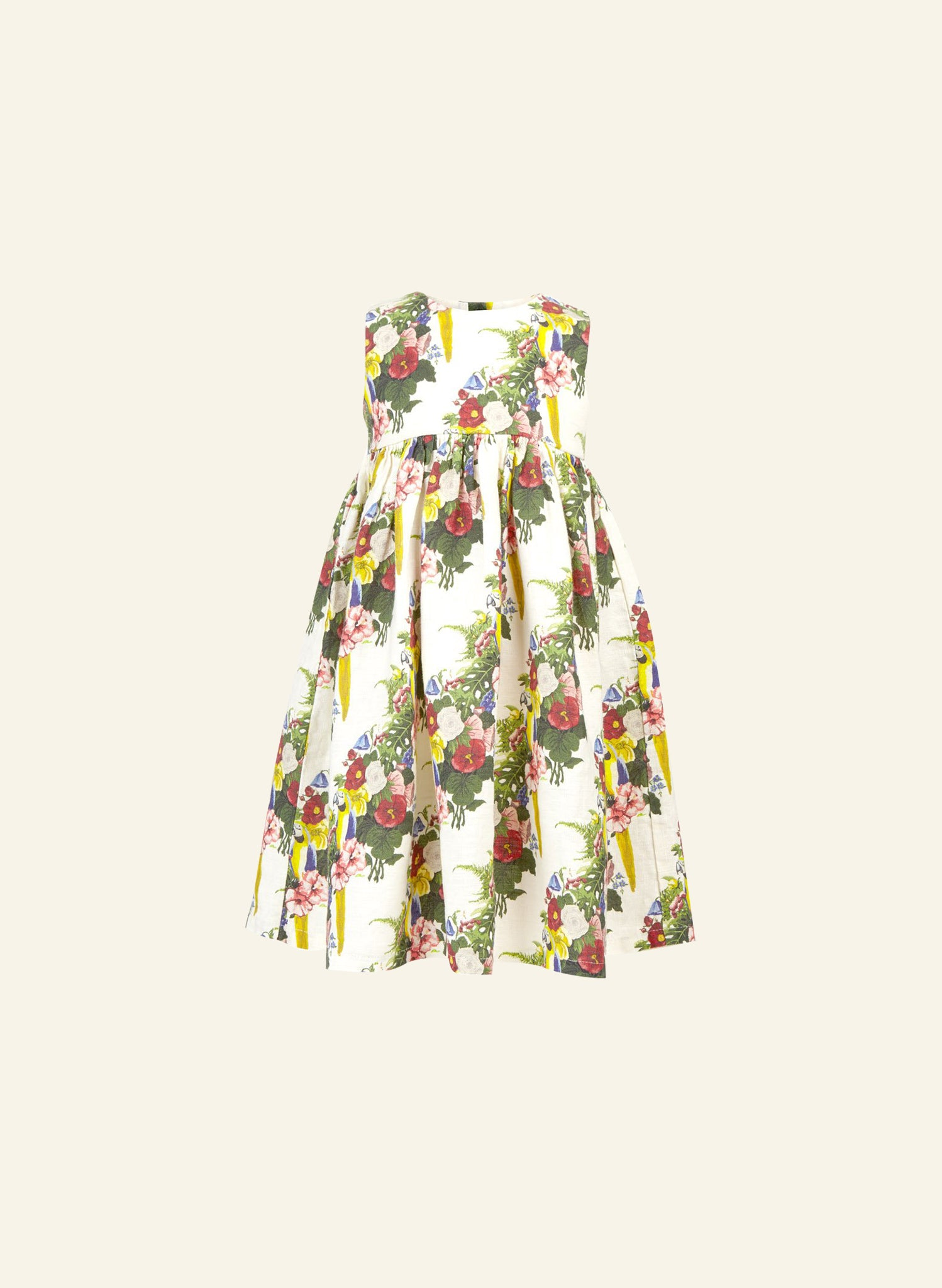 Rosie - Linen Parrots Children's Dress