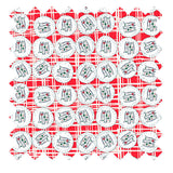 Palava hand illustrated red sardines print in organic winter weight cotton twill