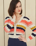 Women's Shawl Neck Cardigan | Navy, Coral, Mustard, Organic Cotton