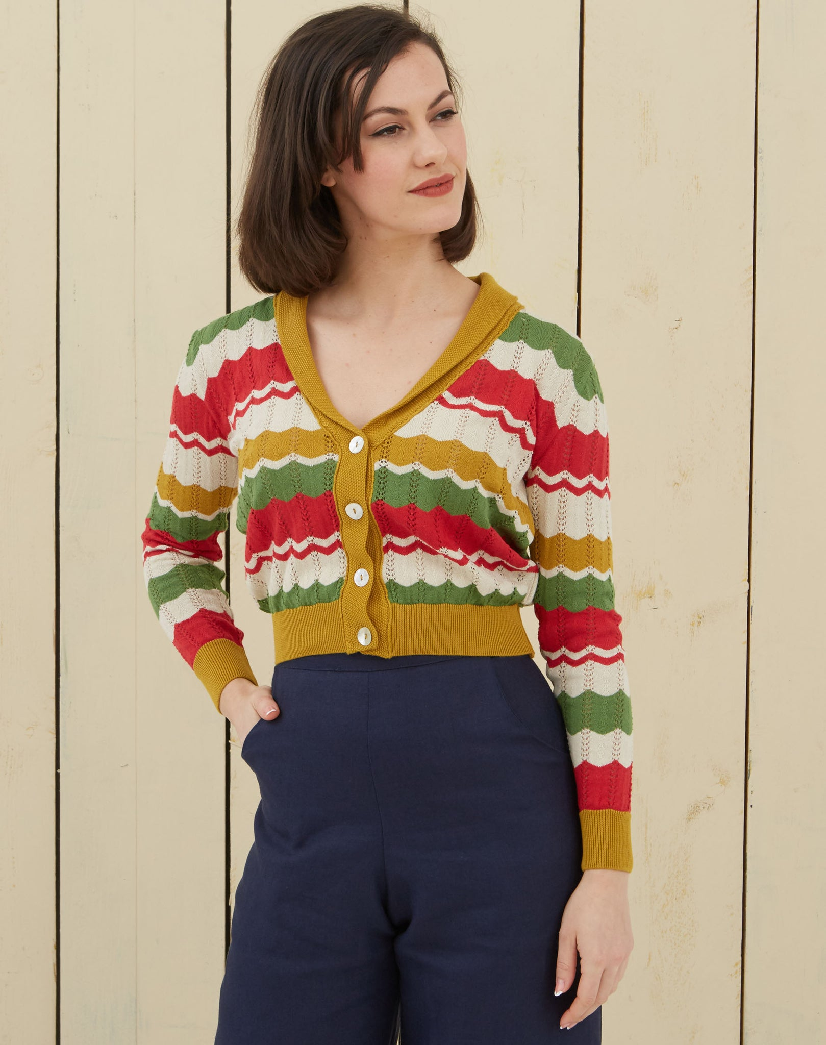 1930s Shawl Neck Cardigan | Red, Green, Mustard, Organic Cotton