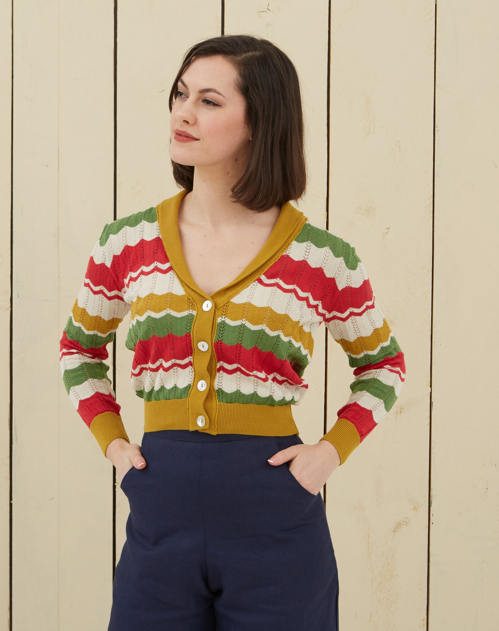 Retro Striped Cardigan | Red, Green, Mustard, Organic Cotton