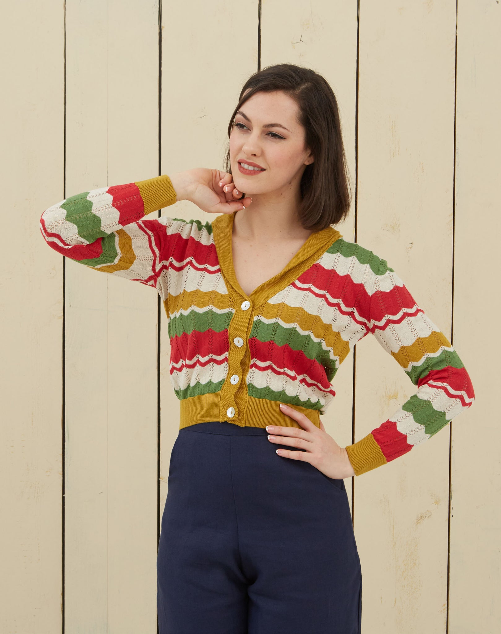Vintage-style Striped Cardigan | Red, Green, Mustard, Organic Cotton