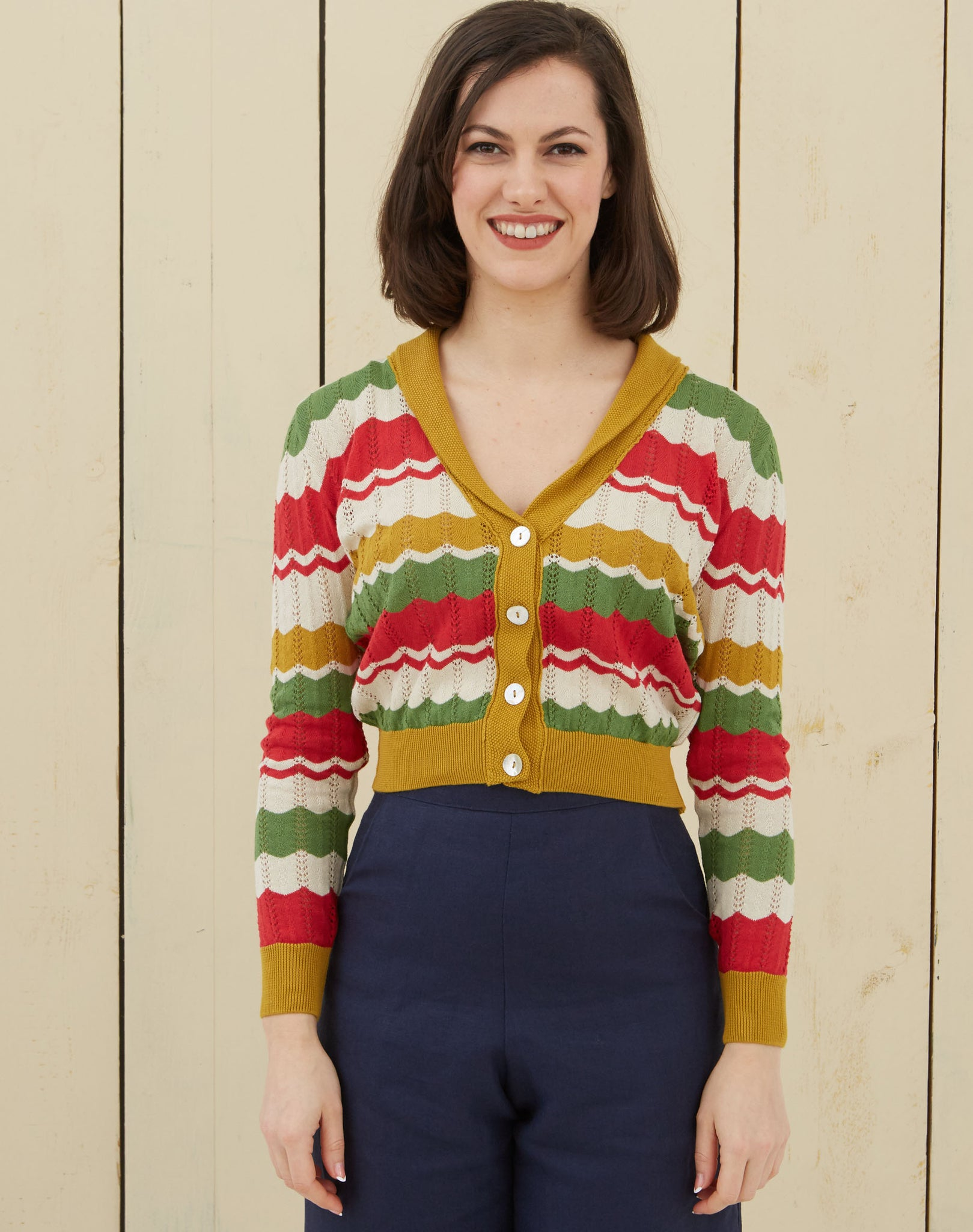 1940s Shawl Neck Cardigan | Red, Green, Mustard, Organic Cotton
