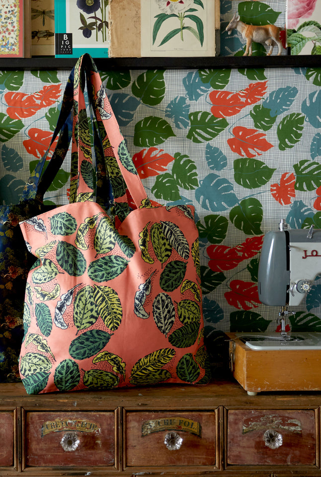 Large Shopper - Coral Zebra Leaf Print Floral Tropical Lined Tote Bag