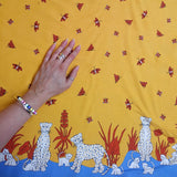 Blue/Yellow Leopard Fabric