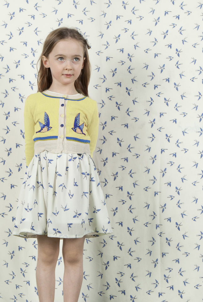 Children's Cardigan - Lemon Swallows - Palava