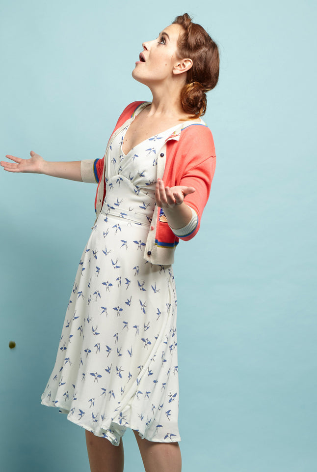 Coral Swallows Embroidered Summer Cardigan | Pink Organic Cotton