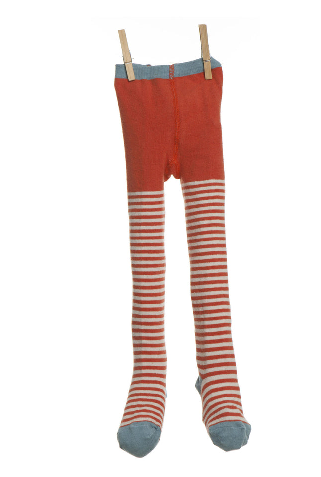Children's Tights - Orange/Cream Stripe - Palava