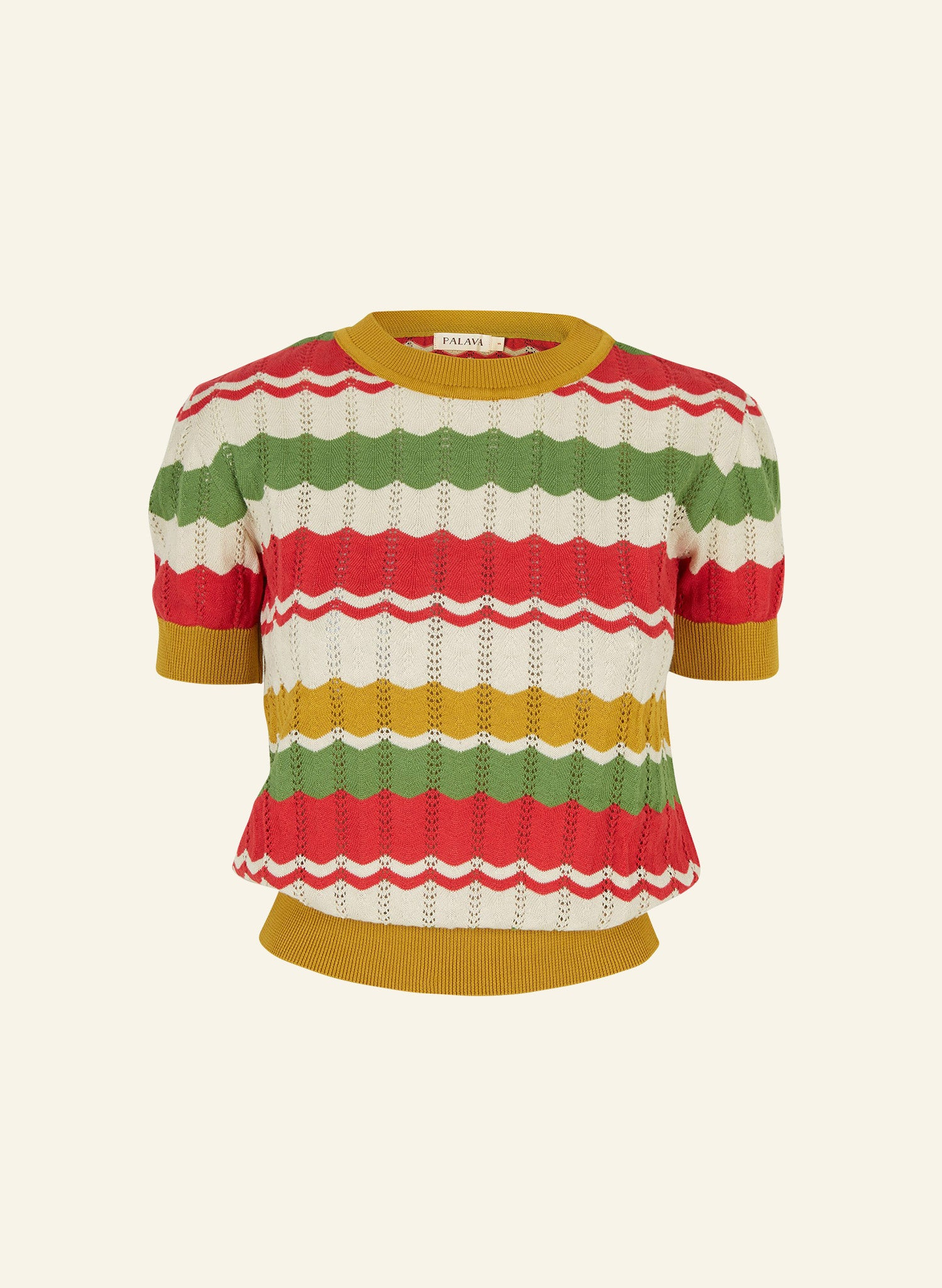 Eve Zigzag Knitted Top - Red and Mustard | Organic Cotton