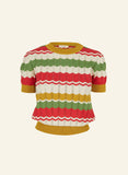 Short Sleeve Knitted Retro Top | Red, Green, Mustard, Organic Cotton