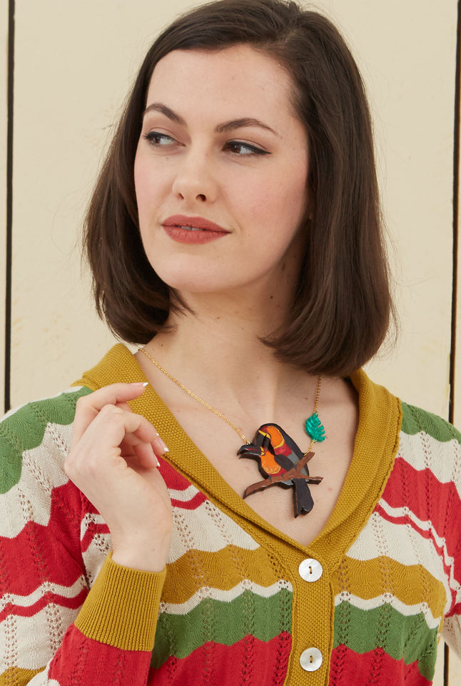 Toucan Laser-cut Acrylic Hand-painted British-made Retro Necklace