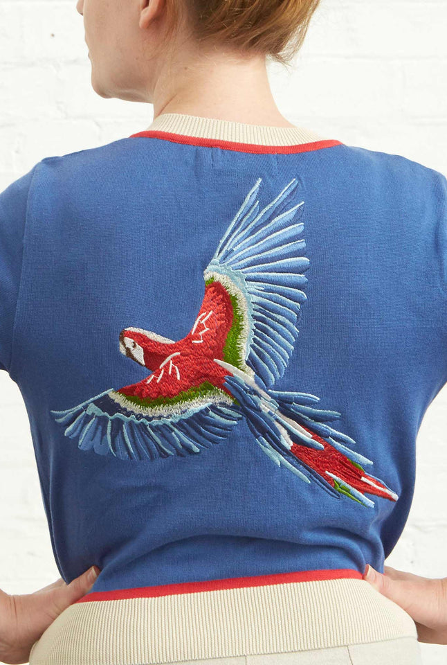 Vera  - Large Embroidered Blue Parrot Cardigan | Organic Cotton
