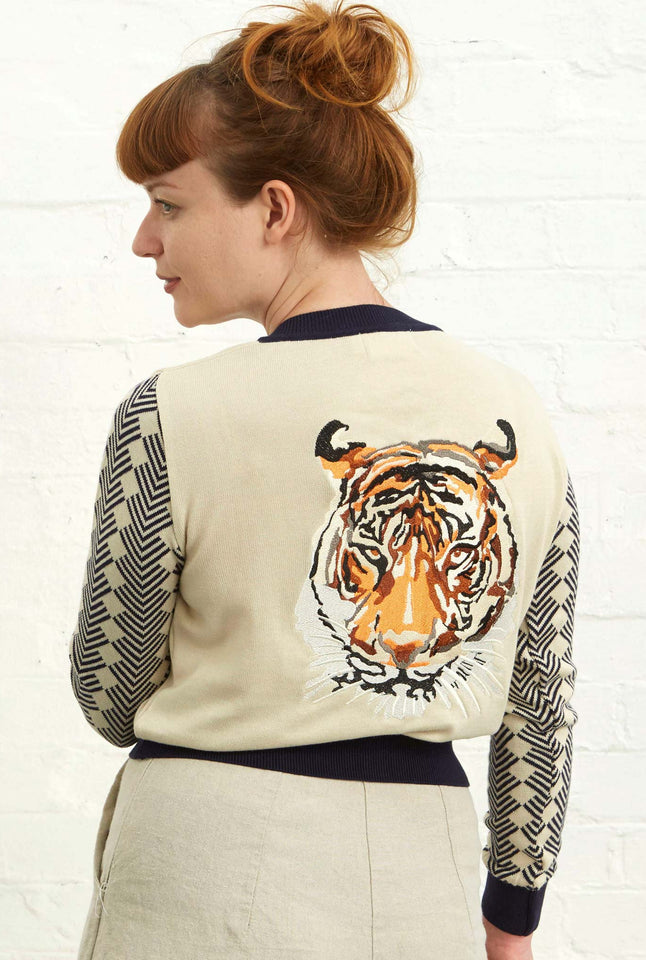 Vera  - Large Embroidered Cream/Navy Tiger Cardigan | Organic Cotton