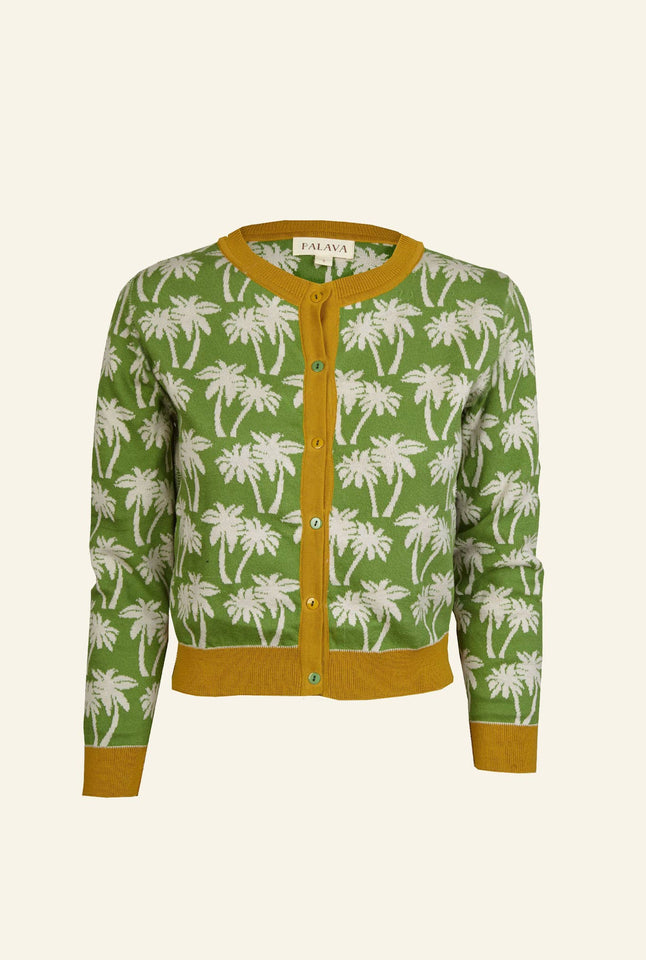 Vera - Green Palm Trees - Organic Cotton Cardigan