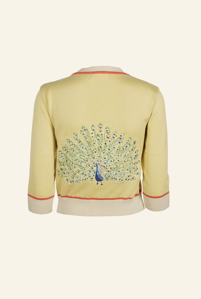 Vera - Large Embroidered Yellow Peacock Cardigan | Organic Cotton