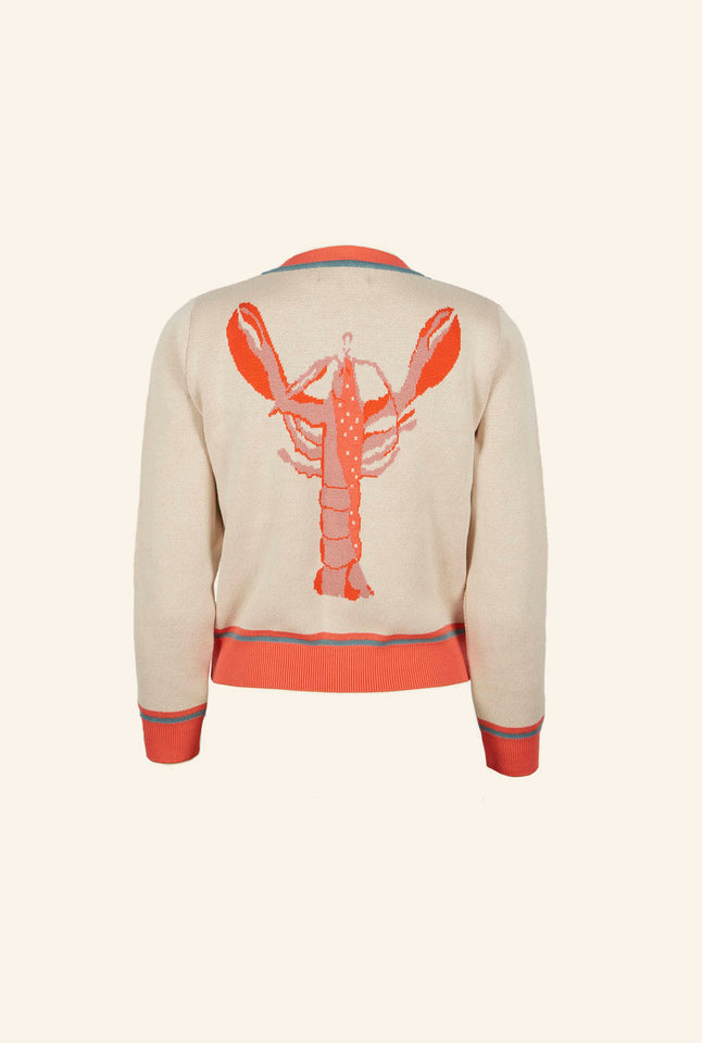 Vera - Large Knitted Pink Lobster Cardigan | Organic Cotton