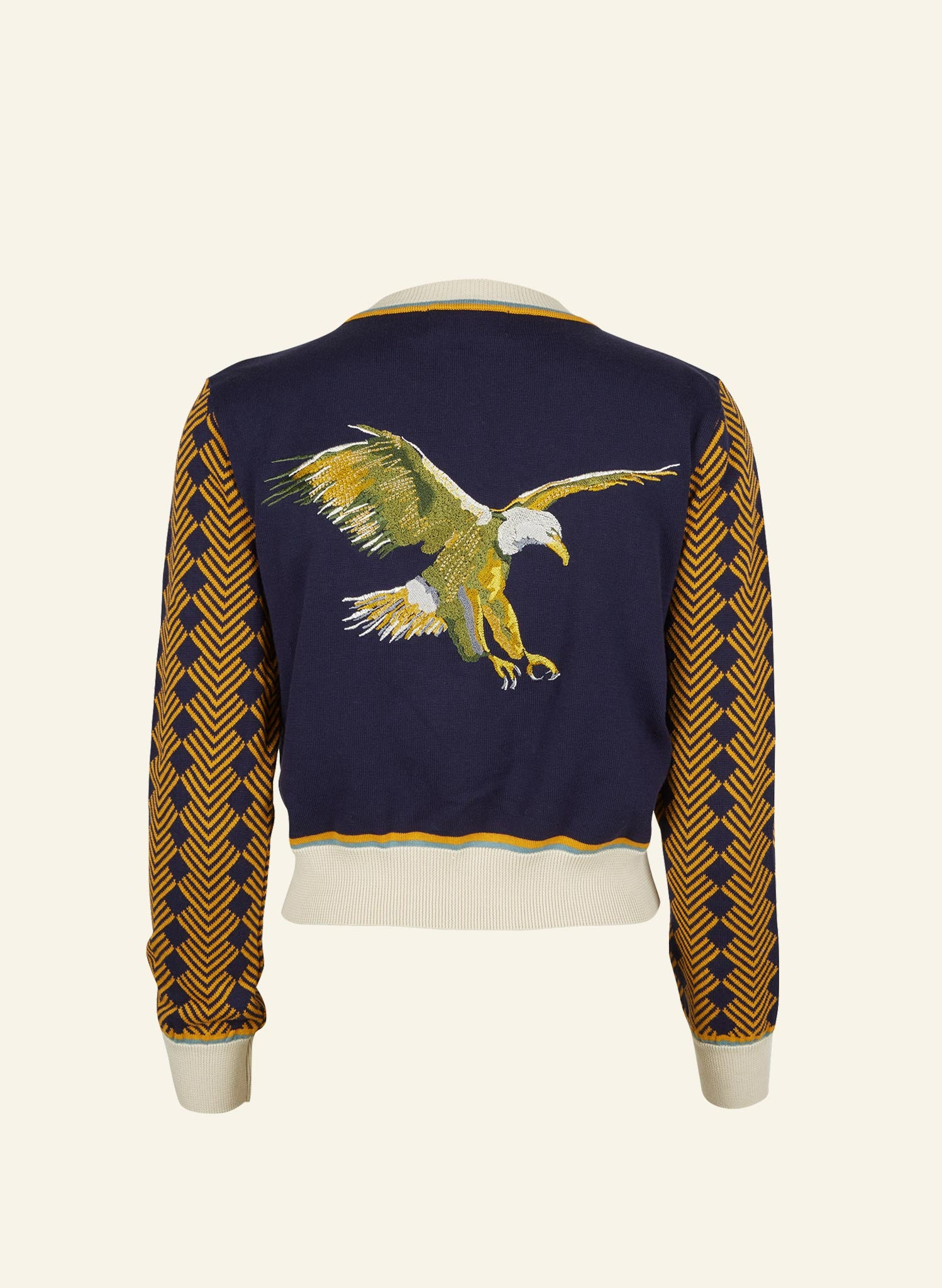 Vera - Navy Embroidered Flying Eagle - Organic Cotton Cardigan