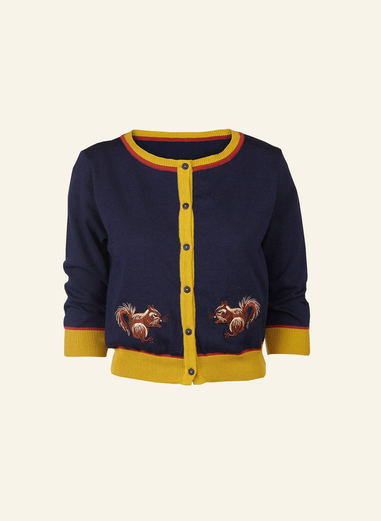 Vera - Navy Squirrel Cardigan - Organic Cotton