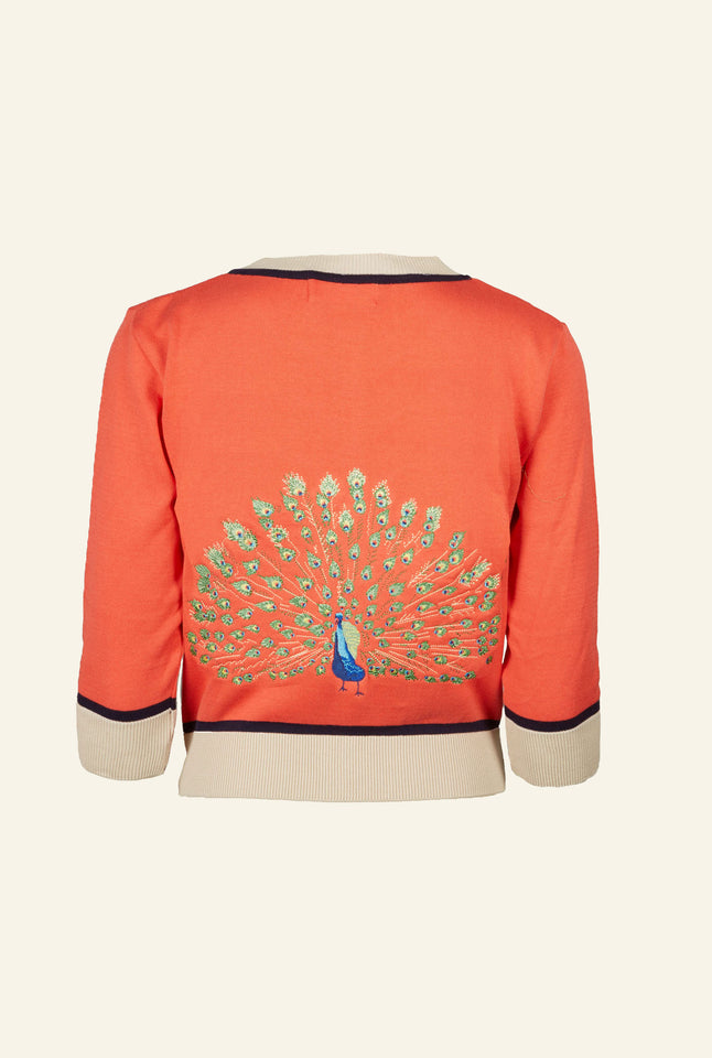 Vera - Large Embroidered Coral Peacock Cardigan | Organic Cotton
