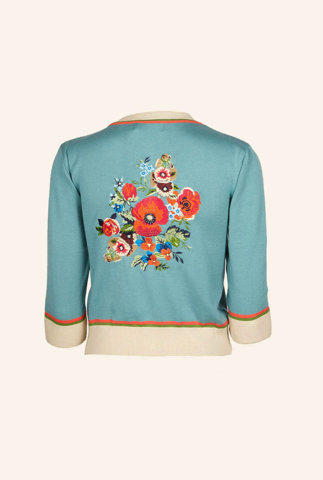 Vera - Large Embroidery Teal Floral Corsage Cardigan | Organic Cotton