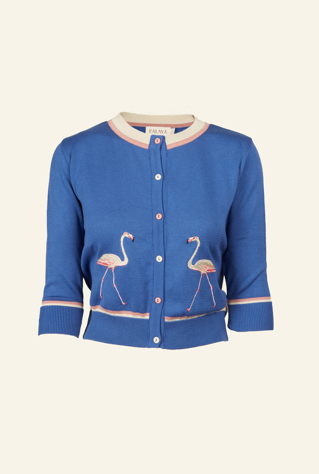Vera - Blue Flamingo Cardigan - Organic Cotton