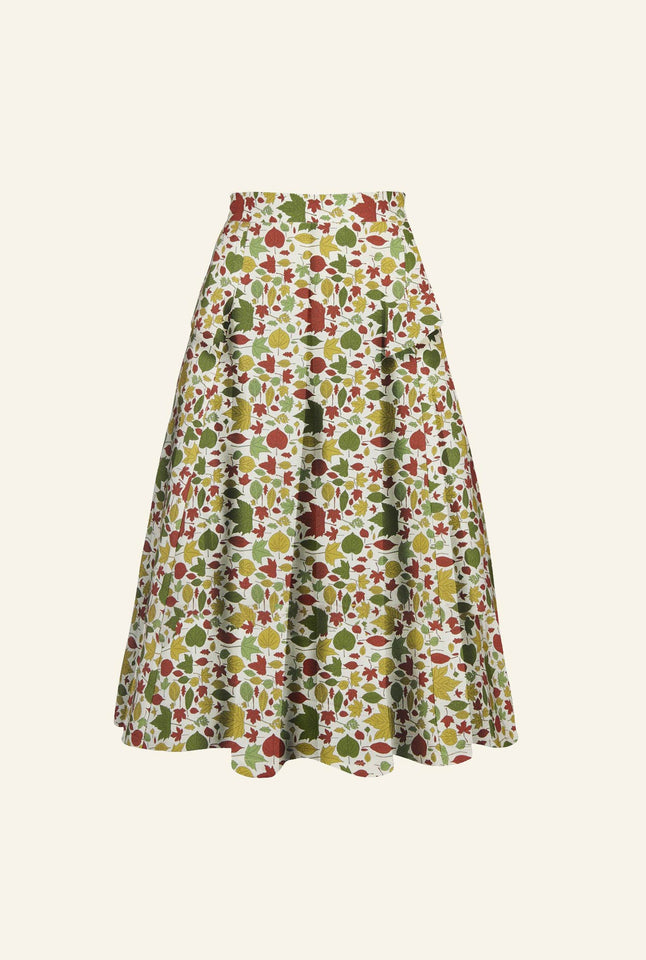 Veronica - Multi Autumn Leaves Skirt - 100% Tencel