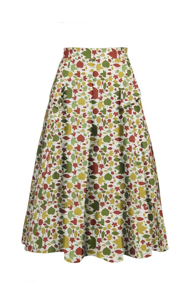 Veronica - Multi Autumn Leaves Skirt