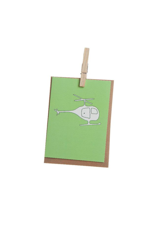 Greeting Card - Green Helicopter