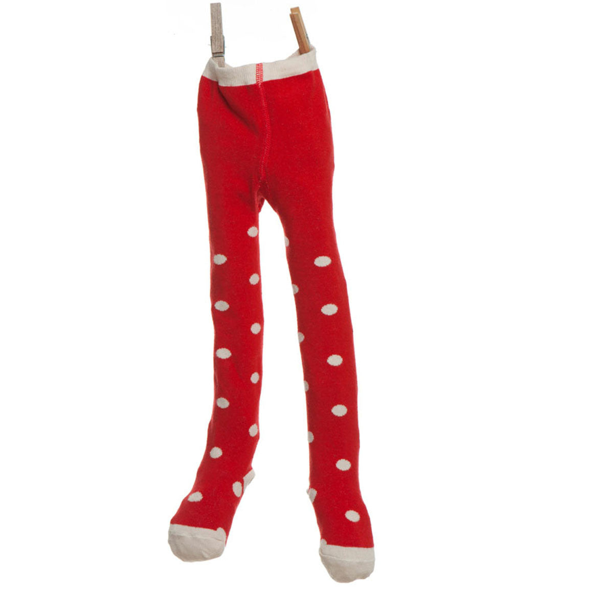 Children's Tights - Red/Cream Spotty