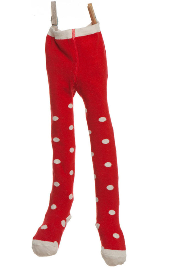 Children's Tights - Red/Cream Spotty - Palava