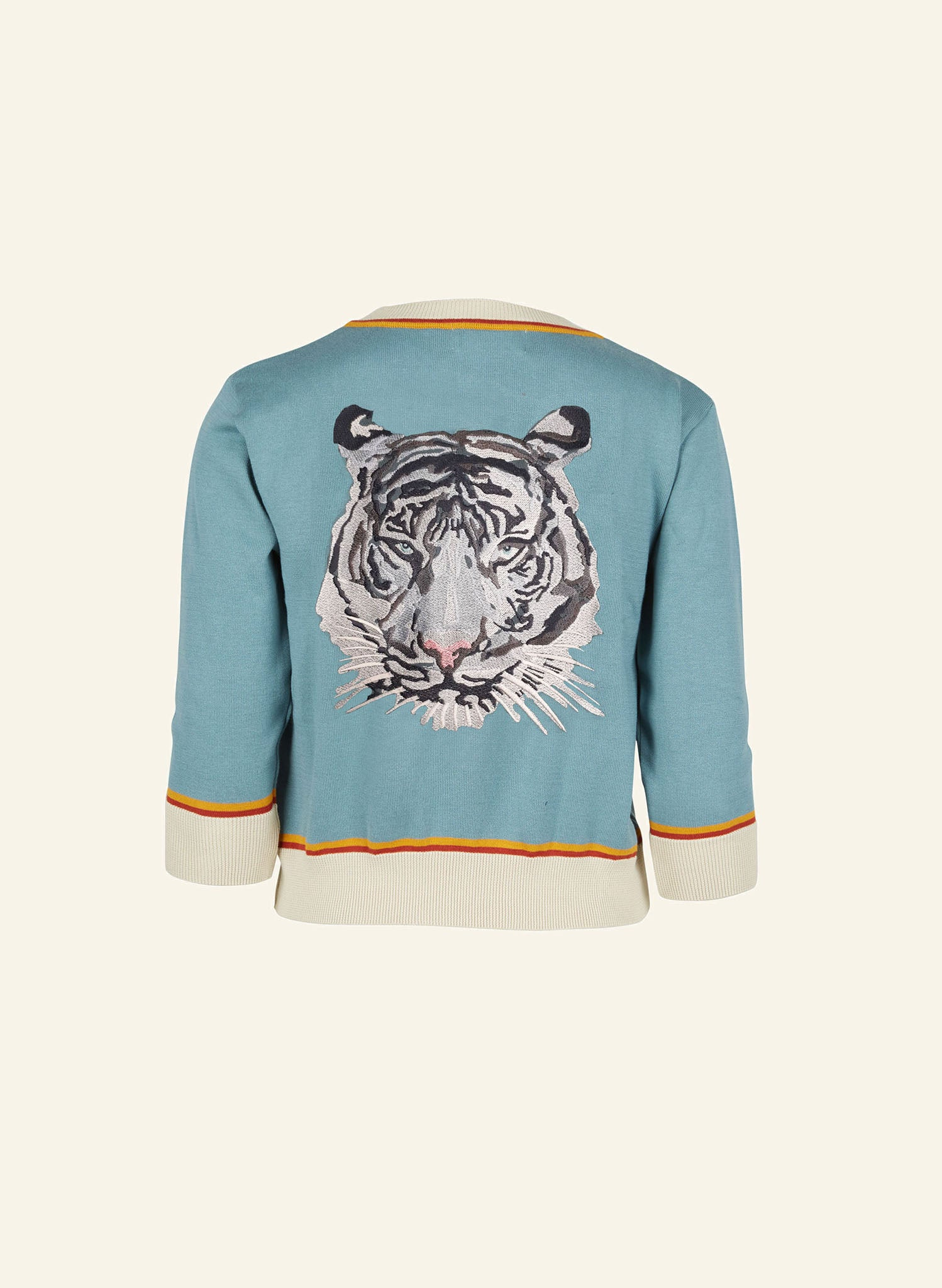 Vera - Blue Embroidered White Tiger - Organic Cotton Cardigan