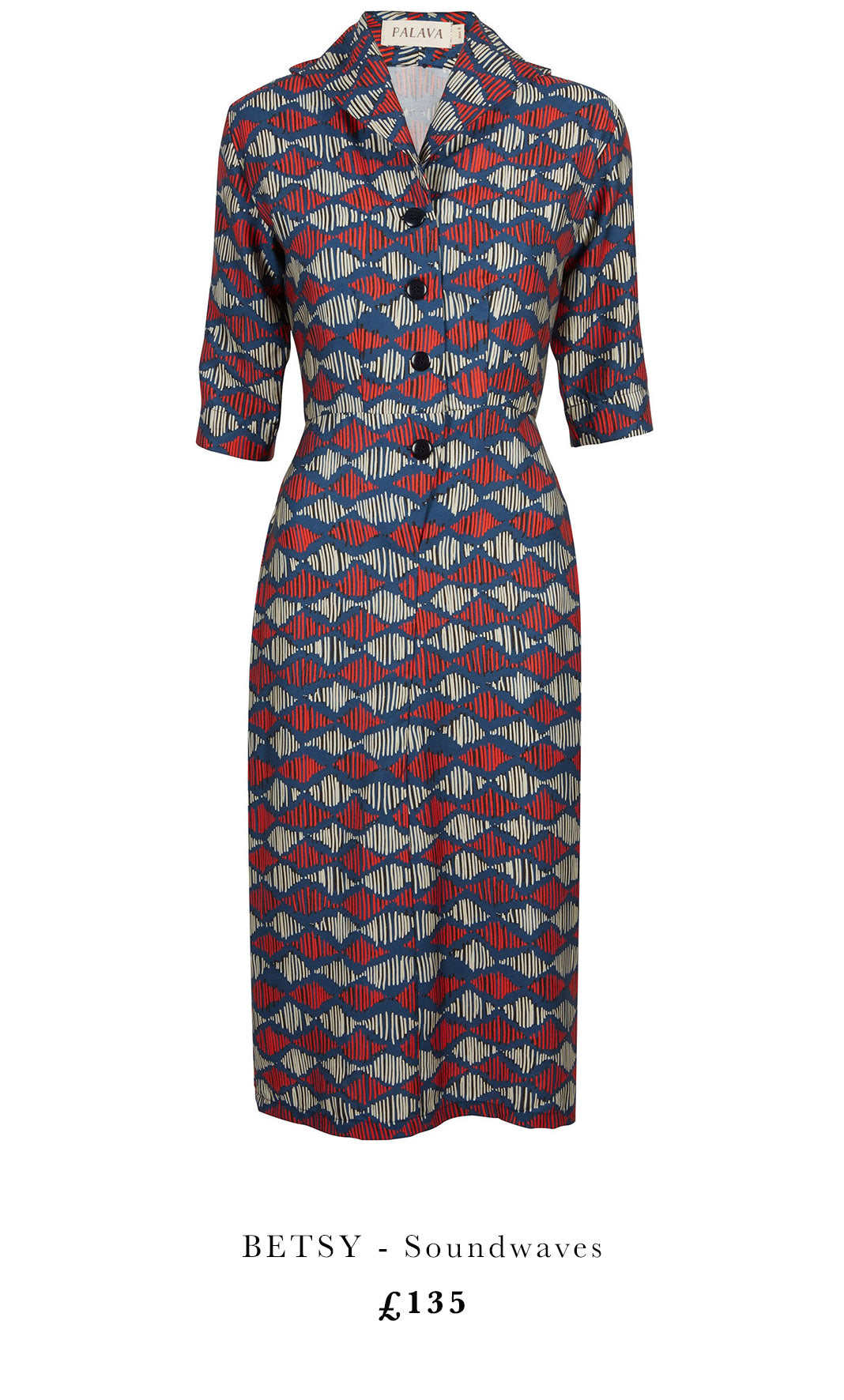 Betsy Soundwaves vintage print dress