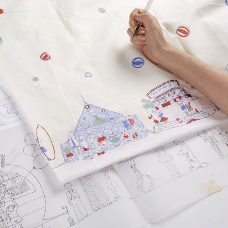 Photo of illustrations and final print design of Palava Roll-up Roll-up fabric