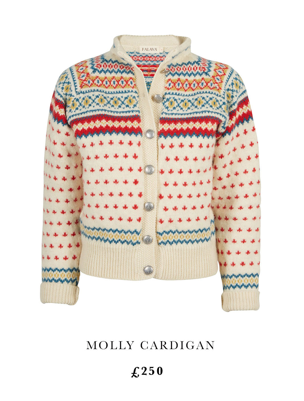 image of Palava Molly cardigan. Fairisle style in cream with red teal and yellow aspects to knit.