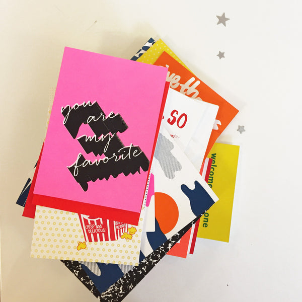 screen printed love and friendship greeting cards