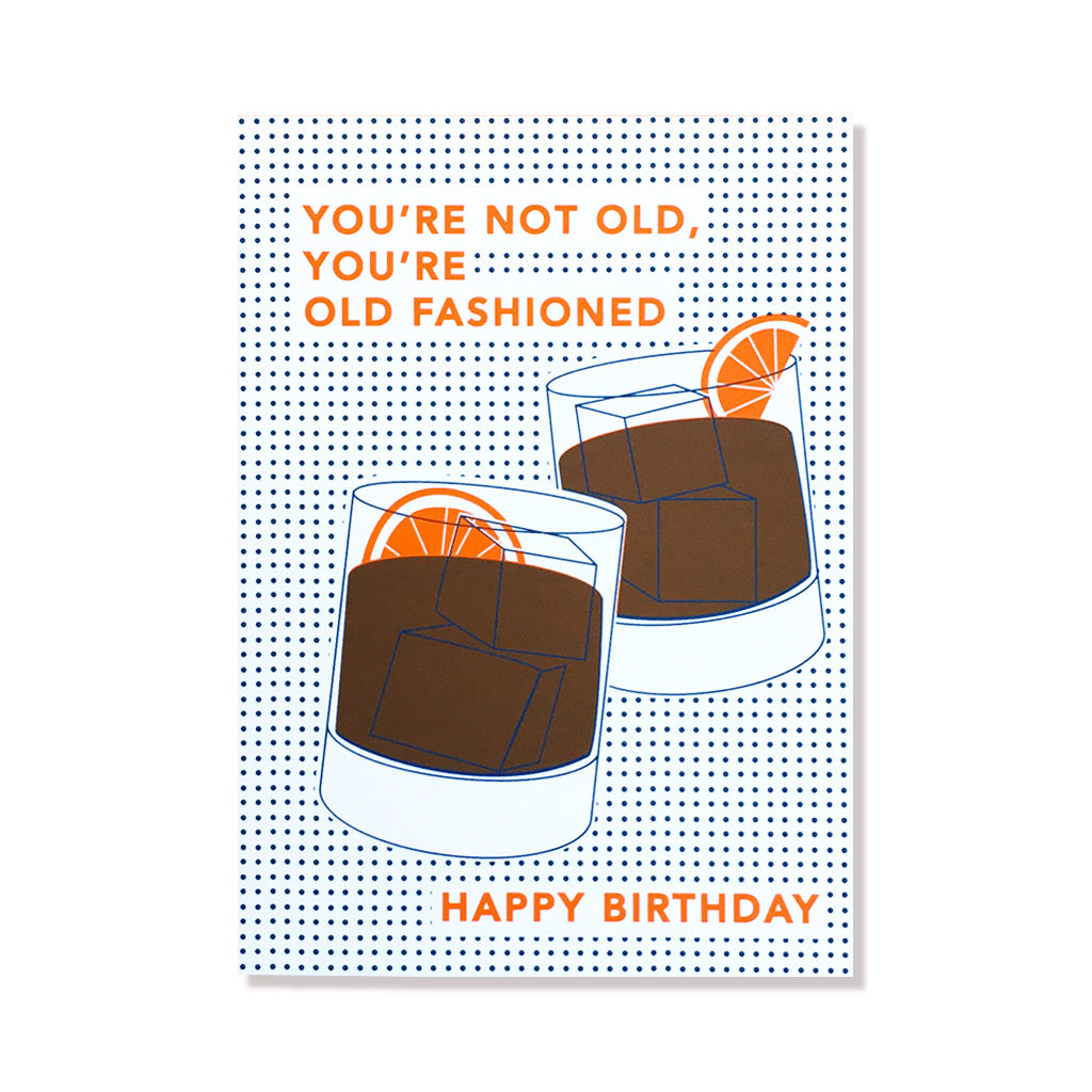 Old Fashioned Cocktail Birthday Card