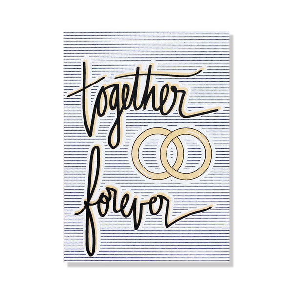 together forever rings wedding card
