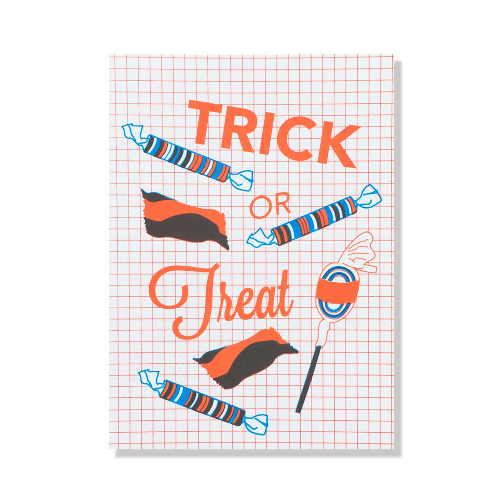 Trick or treat halloween greeting card anne and kate screen printed trick or treat halloween greeting card m4hsunfo